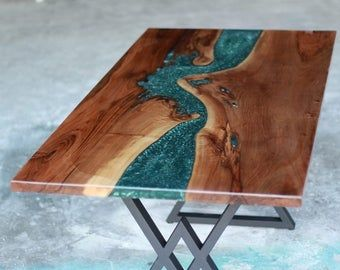 River Table Walnut Wood Epoxy Dining Table Live Edge Office