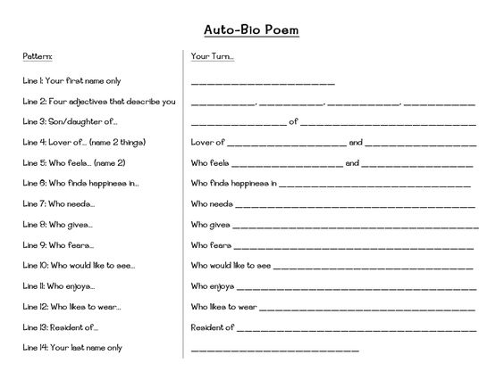 FREE printable bio poem template for kids from waddleeahchaa.com ...