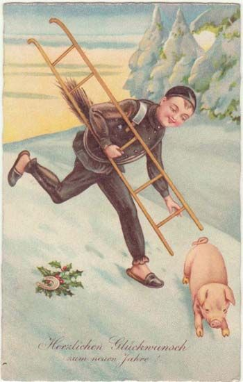 Happy New Year; Vintage Postcard Chimney Sweeper and Pig. from curioshop on Ruby Lane: