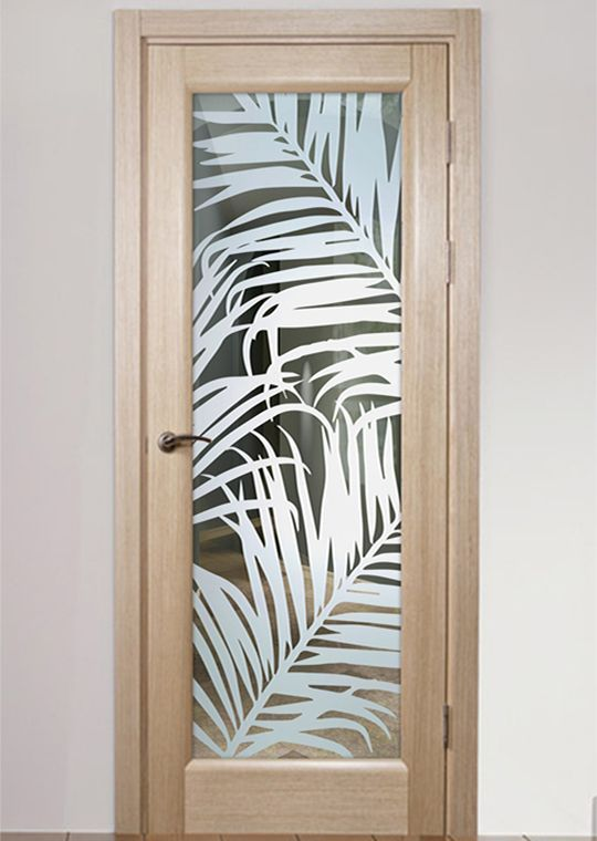 Fern Leaves 1d Positive Frosted Interior Glass Door In 2020