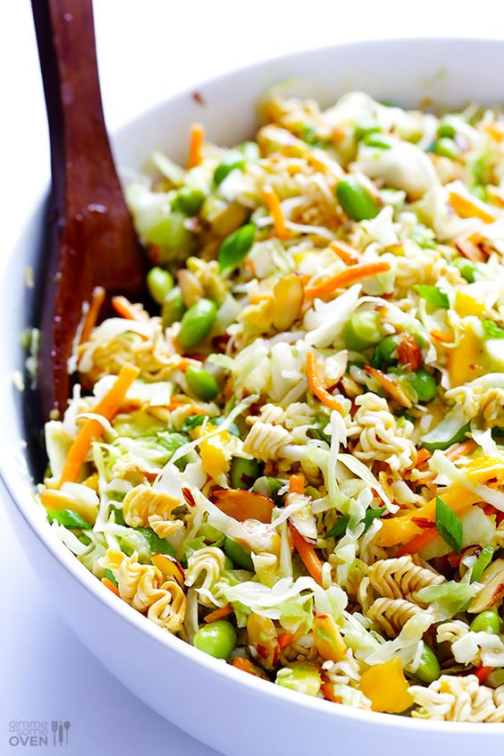 Crunchy Asian Ramen Noodle Salad -- made with fresher ingredients, and ready to go in about 10 minutes! | gimmesomeoven.com