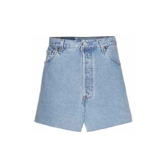 Vetements Denim Skirt (7 495 SEK) ❤ liked on Polyvore featuring skirts, knee length denim skirt, blue denim skirt, denim skirt and blue skirt