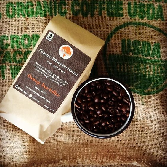 Our Organic Ethiopian Harrar is a bold blend full of fruity chocolaty flavors and aromas making it the perfect choice for an after-dinner coffee! #ethiopiancoffee #ethiopian #organiccoffee #fairtrade #specialtycoffee #usda #gourmetcoffee #instacoffee by orangetreecoffee
