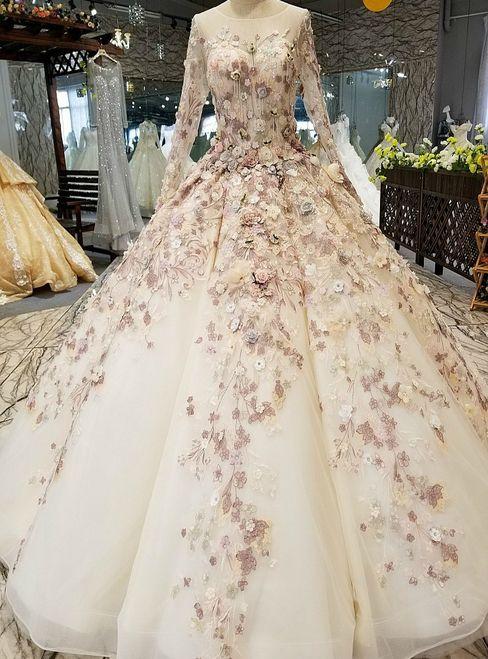 White Ball Gown Long Sleeve Flower Floor Length Wedding Dress