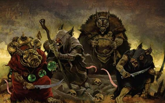 A representative of each of the Four Great Skaven Clans