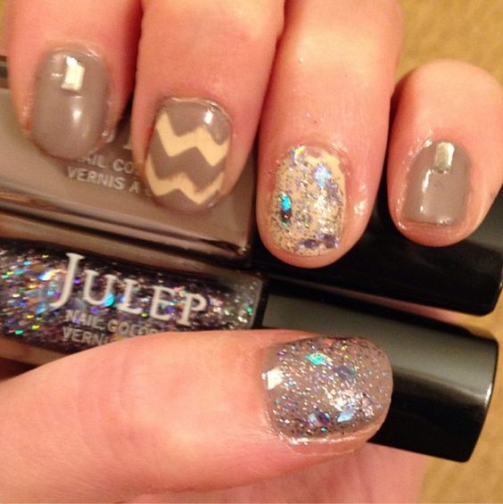 Chevron and sparkle nail art using Julep polishes Alexandra, Alaina, and Geo. Nails done by Michelle Madow!