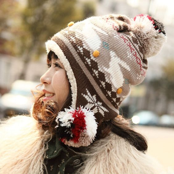 Cartoon rabbit knit bomber hat for women hairball fleece winter hats