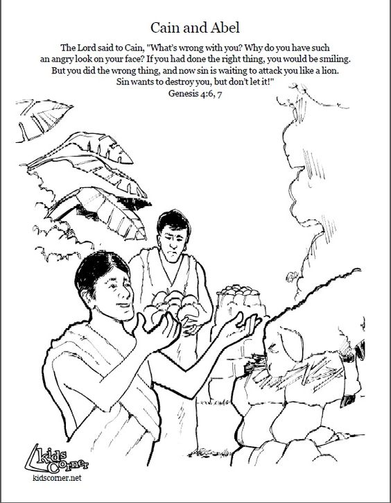 Cain And Abel Coloring Page Script Bible Story