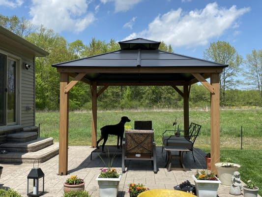 Berkley Jensen 10 X 12 Hardtop Gazebo With Wood Poles Bjs Wholesale Club In 2020 Backyard Gazebo Gazebo Hardtop Gazebo