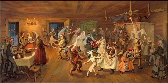 Winter Solstice Celebration by Evalds Dajevskis. Original in tempera, 15 x 31 inches. Reproductions at: http://www.requestaprint.net/artist/gallery.php?gallery_id=19