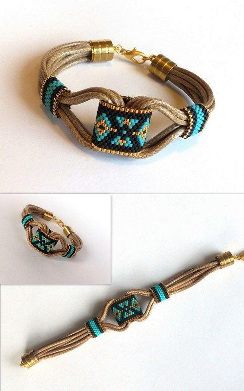 MERKMALE DES ARTIKELS:  Das Armband ist Boho-Stil.  Das Armband ist nützlich und schön.  Das Armband mit Peyote technische Stammes-Muster.  Türkis,