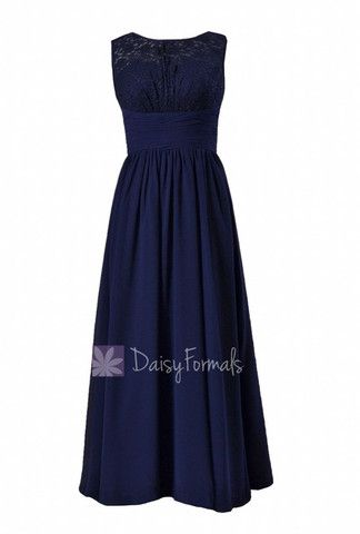 Long Chiffon Evening Dress Navy Formal Dress W/Lace Illusion Neckline – DaisyFormals-Bridesmaid and Formal Dresses in 59+ Colors