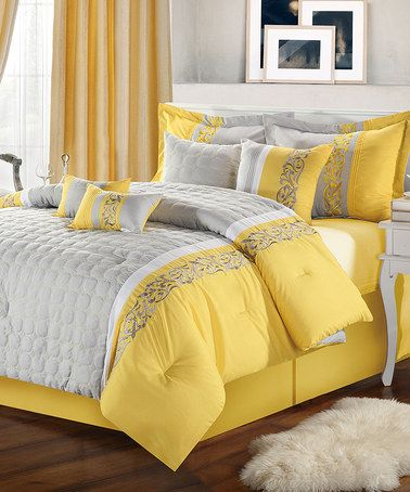 Comforter comforter sets and home design on pinterest - Gray and yellow bedding sets ...