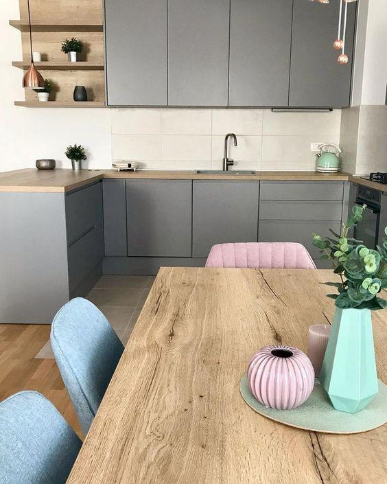 Tendencia De Este Ano Modelos De Cocina Gris In 2020 Innenarchitektur Kuche Kuchen Design Haus Kuchen