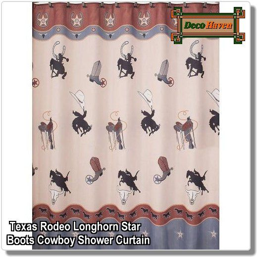Texas Rodeo Longhorn Star Boots Cowboy Shower Curtain The Texas