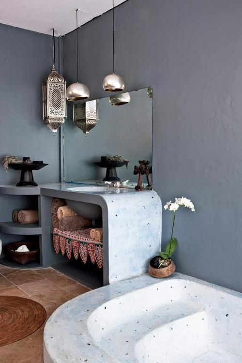 Source: Elle Decoration  Tropical rustic! love the idea of a simple rustic bathroom. Helps when its in a tropical place! For similar and equally cool pendant lights try the moroccan inspired pendants found at Liberty. They will not disapoint!