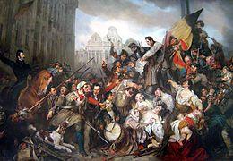 """A Revolução Belga, Gustaf Wappersde Wappers, nos Museus Reais de Belas-Artes da Bélgica O culto à natureza e à imaginação já havia começado com os escoceses no século XIII, qdo surgiram as 1ªs histórias de cavaleiros e donzelas, em verso. Nessa época, as narrativas, chamadas de romance, do latim romanice , que significa """"na língua de Roma"""". A origem do que viria a ser conhecido como """"romantismo"""", fora plantada no séc XVII, qdo o """"espírito clássico"""" começaria a ser contestado na Grã-Bretanha."""