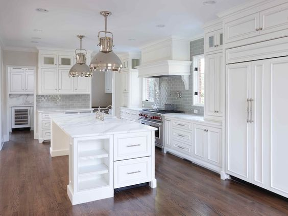Dream kitchen From website: Stunning L shaped kitchen white beaded ...