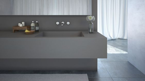 Sink bench top featuring caesarstone sleek concrete caesarstone 2014 new colours pinterest - Caesarstone sink kitchen ...
