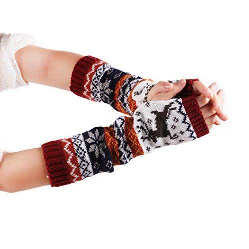 Damen Handschuhe Winter Wärmer Lange Fingerlose Handstulpen Strick Armstulpen DE