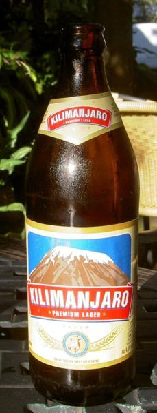 A bottle of Kilimanjaro beer --- Beer in Africa, especially lager, is produced commercially in most African countries, and varieties of beer are also made by indigenous tribes. Beer is served in a range of locales, from neighbourhood shebeens to upscale bars.