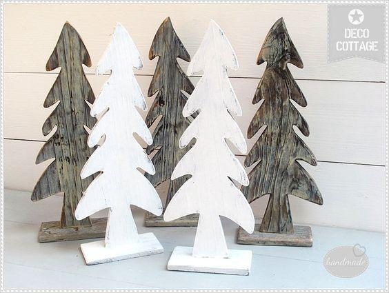tannenbäume aus holz. braun oder shabby   bastelideen nz,