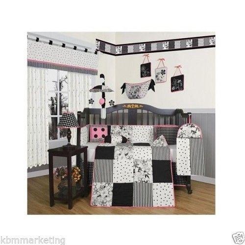 Black-White-Flowers-Dots-13-Piece-Crib-Bedding-Set-Baby-Nursery-Newborn-Girls