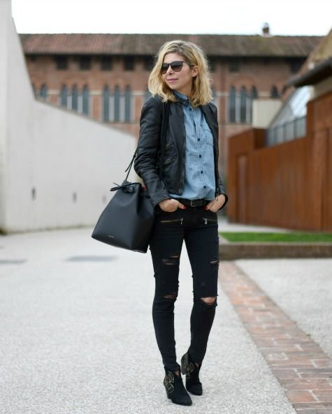 Ash boots, Bucket bag and Paige denim on Pinterest