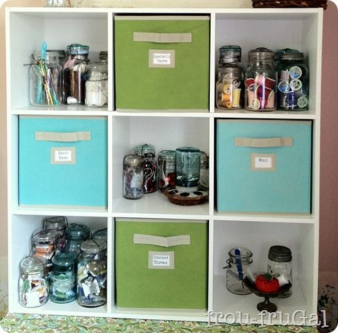 Organizing with jars and drawers.