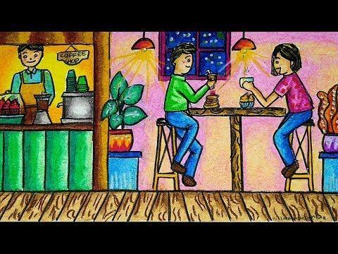 Cara Menggambar Dan Mewarnai Tema Suasana Cafe Dengan Gradasi Warna Crayon Oil Pastel Yang Bagus You Small Canvas Art Scenery Drawing For Kids Pastel Drawing