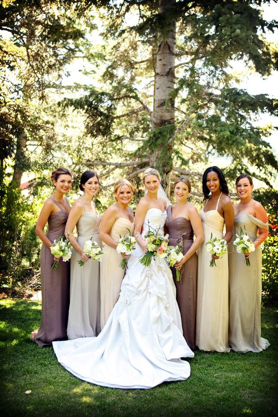 mismatched bridesmaid dresses // photos by Pepper Nix Photography: http://www.peppernix.com || see more on http://www.artfullywed.com