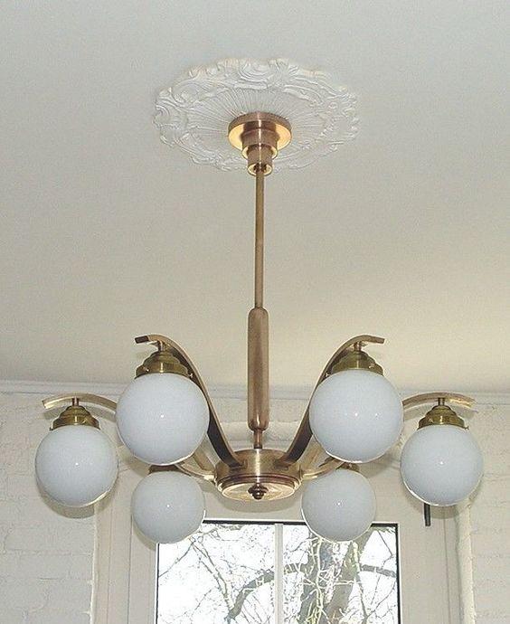 ART DECO antike Decken Lampe 6arm MESSING ORIGINAL