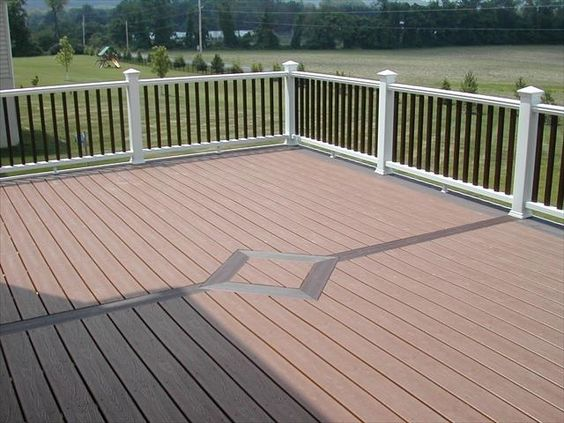 Trex transcend tree house deck with vintage lantern for White composite decking