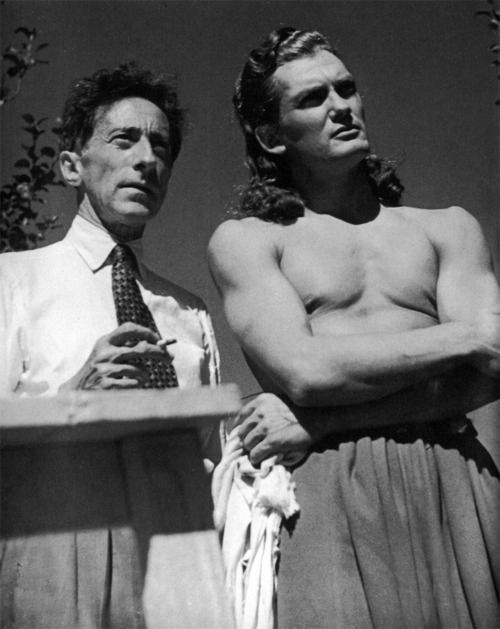 """Everyone adored Cocteau. I knew right away that he was to be the love of my life.""- Jean Marais    Jean Cocteau and Jean Marais on the set of Beauty and the Beast.:"