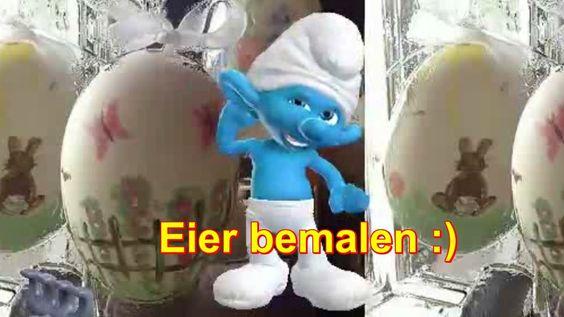 Ostern Osterfest Eier bemalen ♥♥♥.. Schlumpf der Schlümpfe von Zoobe deutsch