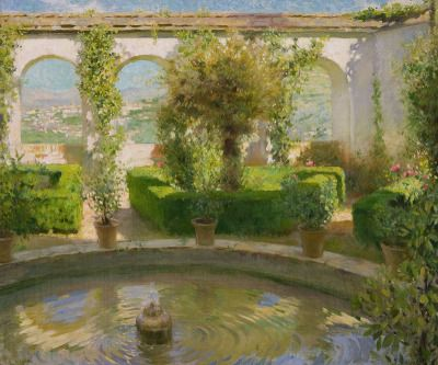 "the-paintrist:  "" huariqueje:  "" Fountain in a Spanish Garden · Francis Luis Mora  American painter 1874-1940  Impressionism  ""  F. Luis Mora, also known as Francis Luis Mora (July 27, 1874 – June 5, 1940), was a Uruguayan-born American figural painter...."