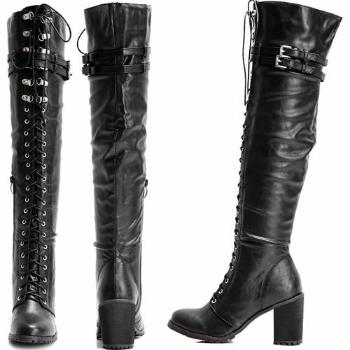 Women Black Leather Lace Up Thigh High Heel Military Goth Riding