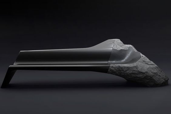 by peugeot_luxury sofa is a high-contrast liaison of volcanic rock and carbon fiber