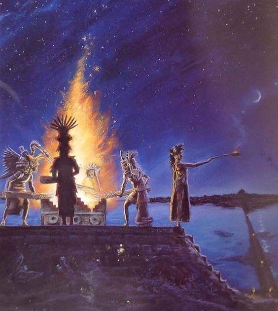 """Así se festejaba el """"Fuego Nuevo"""" cada 52 años en el México antiguo - Cuando finalizaba un siglo Anáhuaca, era necesario efectuar la """"atadura de los años"""" (xiuhmolpilli), regenerar el tiempo y recrear el sol con el fin de evitar la oscuridad sin fin, el descenso sobre la tierra de los tzitzimimes devoradores de hombres y de destrucción del mundo. El encendido del Fuego Nuevo debía suceder a media noche, en el momento en que las Pléyades alcanzaban el cenit por encima de México-al menos en e"""