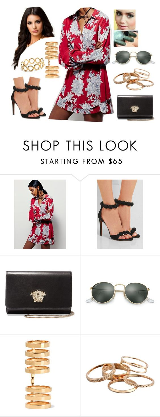 """""""Bez tytułu #16283"""" by sophies18 ❤ liked on Polyvore featuring Free People, Alaïa, Versace, Ray-Ban, Repossi, Kendra Scott and Pernille Corydon"""