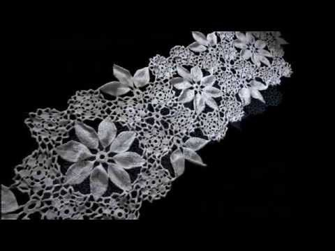 Caminho de mesa de crochê flores e folhas - YouTube
