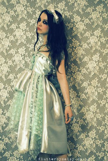green and mint lace victoriana aqua dress from: flutterbydaisy