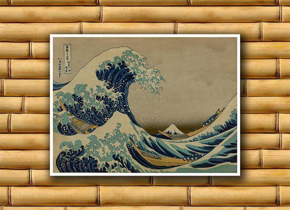 Asian Waves Art Poster Japan Wall Art Retro Decor Japanese Print (J74)