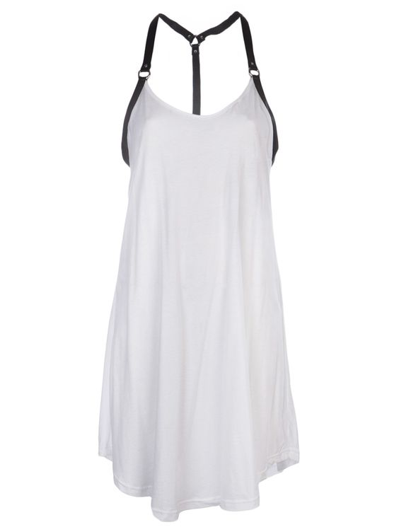 SKINGRAFT - harness tank dress with black leather straps on white cotton, racer back: