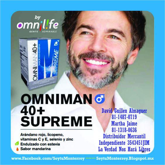 OMNIMAN 40+… Para hombres de más de 40 años ya existe OMNIMAN 40+, el producto proporciona los nutrientes que pierde el organismo masculino en la edad madura… Recupera tu energía, mejora tu estado el ánimo, afronta la vida con vigor, cuidando tu organismo con los productos Omnilife.
