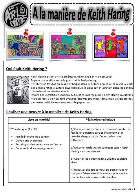 Berühmt A la manière de Keith Haring - Ce1 -Ce2 - Cm1 - Cm2 - Arts visuels  HX19