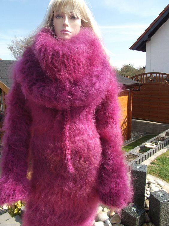 X1 FUZZY LONGHAIR MOHAIR KLEID DRESS SWEATER ROLLKRAGEN COWLNECK 4 mögl. Farben | eBay