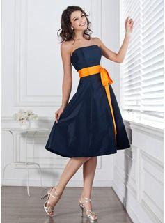 Ligne-A/Princesse Sans bretelles Mi-longues Taffetas Robe de Demoiselle dHonneur avec Sash (007004106)