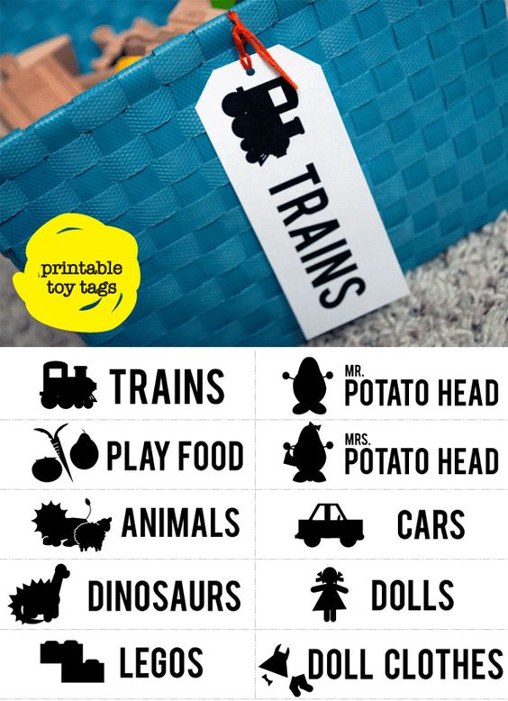Printable toy tags with pictures for kids who can't read
