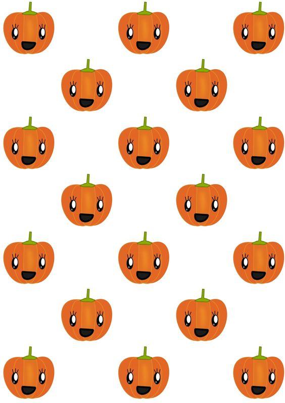 FREE printable pumpkin pattern paper | #kawaii #JackO'Lantern